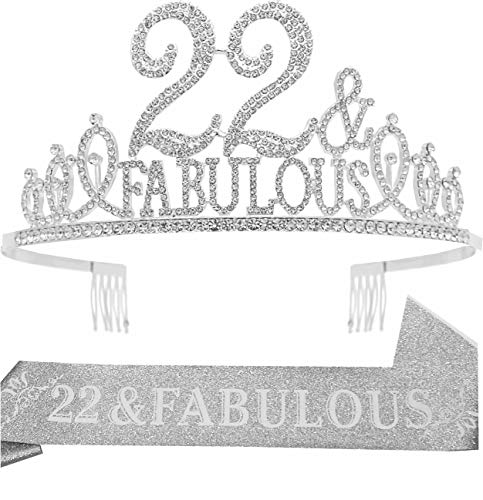 22nd Birthday Gifts for Women,22nd Birthday Tiara and Sash Silver,22nd Birthday Decorations Party Supplies,22&Fabulous Birthday Satin Sash Crystal Tiara Birthday Crown for 22nd Birthday Party Decor