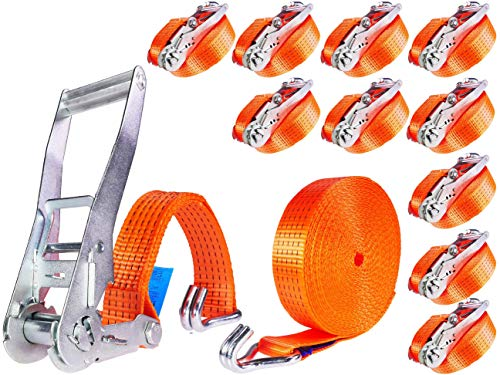 10 Stück 5000kg 12m Spanngurte mit Ratsche und Haken Ratschengurte Zurrgurt 2 teilig Spanngurt LKW Zurrgurte 50mm