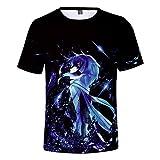 TANGNIU Sword Art Online Camiseta Casual Transpirable De Pareja De Verano De Manga Corta para Hombres Camiseta De Playa Polo De Regalo para Niños Impresa En 3D-XL