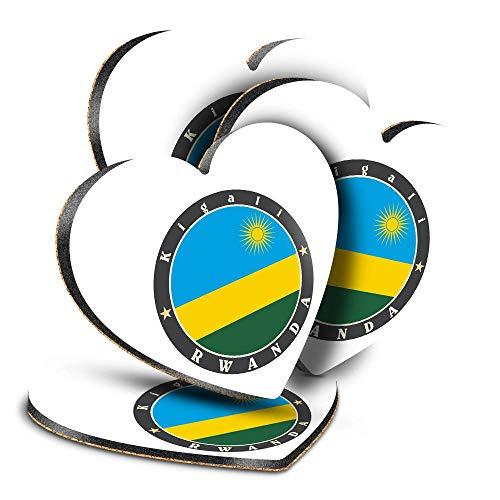 Destination Vinyl ltd Great Posavasos (juego de 4) Corazón – Bandera de Rwanda Kigali África Viajes Bebida Brillante Posavasos / Protección de mesa para cualquier tipo de mesa #5189