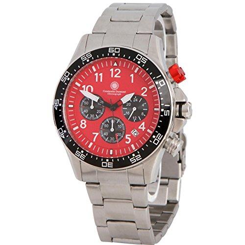 Constantin Durmont Herren Chronograph Quarz Uhr mit Edelstahl Armband CD-SPAD-QZ-STSTBKRD
