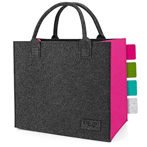 sølmo I Filz-Tasche - 2 Farbig, Faltbar - Shopping-Bag I Große Einkaufstasche mit Henkel, Shopper Einkaufskorb, Grau Pink (Dark Stone/Berry Pink)