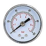 Manómetro, 1/8 pulgada BSPT Conexión trasera de rosca Manómetro mecánico para aire aceite agua, 15 psi - 300 psi Opcional, 4.1x4.1x3.8cm / 1.6x1.6x1.5inch(0-100psi,0-7bar)