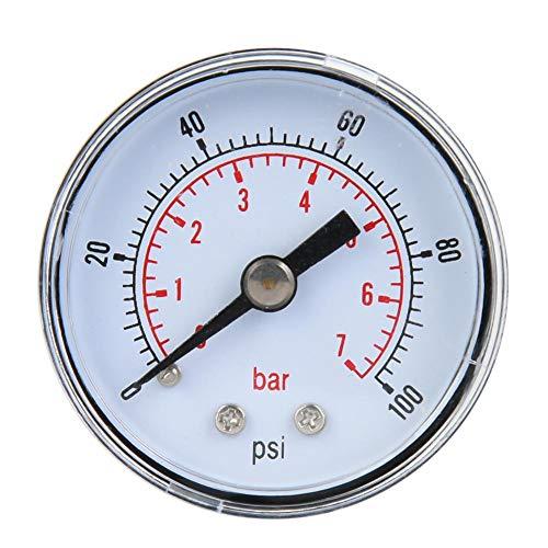 Mechanisches Manometer, 1/8 Zoll BSPT Axialmanometer für Luft, Öl und Wasser(0-100psi,0-7bar)