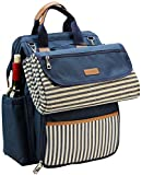 Wide Open Picnic Backpack Bag for 4, with Large Capacity Insulated Cooler Compartment,9' Plates,Wooden Handle Cutlery and Waterproof Blanket Best Gift - Navy Blue Color