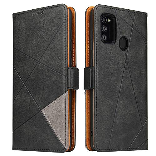 BININIBI Handyhülle für Samsung M21 Hülle, Galaxy M30s Lederhülle Handytasche, Klapphülle Tasche Leder Schutzhülle für Samsung Galalxy M21/M30s, Schwarz