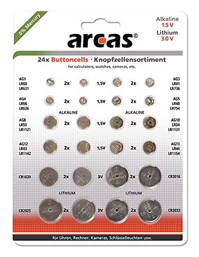 Arcas 127 52400 - Alkaline und Lithium Knopfzellen Sortiment, 24 teilig, 16x Alkaline und 8x Lithium, ideal für Uhren, Taschenrechner, Spielzeug und Schlüsselleuchten