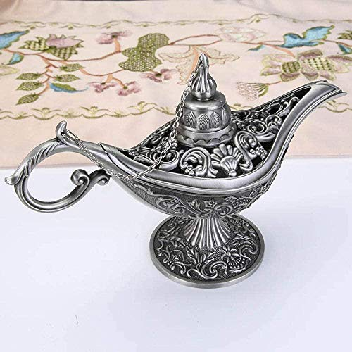 DQQQ Skulptur Statue Dekorative Sammlerstücke Aladin Lampe Figur Magie Genie Lampe Magie Weihrauchbrenner Retro Genie Wunsch Öllampe Home Decor-1_13 * 9 * 5.5_cm