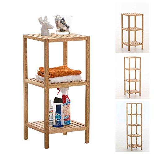 CLP Standregal aus Holz | Holzregal in verschiedenen Höhen erhältlich | Badezimmerregal mit 3-5 Ablageflächen Skandia 36 x 36 x 79 cm, 3 Ablagen
