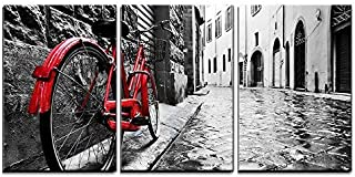 wall26 3 Piece Canvas Wall Art - Retro Vintage Red Bike on Cobblestone Street in The Old Town - Modern Home Decor Stretched and Framed Ready to Hang - 24