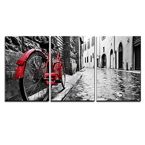 """wall26 3 Piece Canvas Wall Art - Retro Vintage Red Bike on Cobblestone Street in The Old Town - Modern Home Decor Stretched and Framed Ready to Hang - 24""""x36""""x3 Panels"""