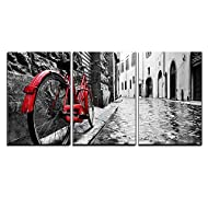 """wall26 3 Piece Canvas Wall Art - Retro Vintage Red Bike on Cobblestone Street in The Old Town - Modern Home Art Stretched and Framed Ready to Hang - 16""""x24""""x3 Panels"""
