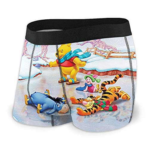 GYYbling Boxer Shorts for Men Anime Winnie The Pooh Men's Underwear Stretch Boxers Briefs for Men Short Leg Underpants Breathable Comfortable Fiber Pack