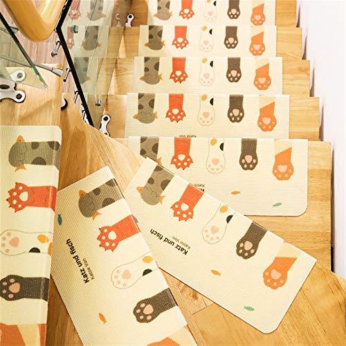 Liveinu Stair Walker Selbstklebende Treppenläufer Selbstklebende rutschfeste Laufmatte für 90 x 24 cm (15 Stück) Katzenpfoten