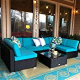 Peach Tree 7 PCs Outdoor Patio Furniture Sets PE Rattan Wicker Sofa Sectional Furniture Set with 2 Pillows and Tea Table