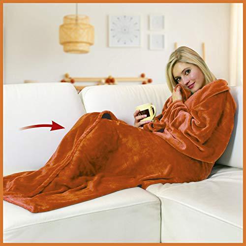 WALSER 13686 Manta con mangas, manta de sofá suave, cubrecama esponjosa, manta de vellón caliente, manta de vida, naranja, 170x200cm