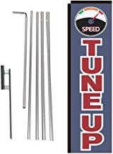 Auto Tune-Up Rectangle Feather Banner Flag with Pole Kit and Ground Spike for, Large Signs for Auto Service and Repair Businesses