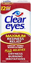Clear Eyes Maximum Redness Relief Eye Drops | Relieves Drying, Burning & Irritations | 0.5 Ounce per Box | 3 Boxes Total