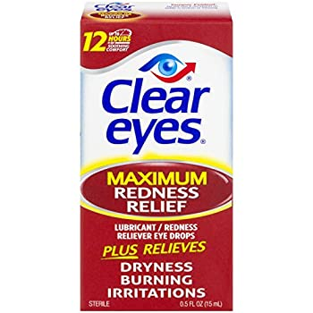 Clear Eyes Maximum Redness Relief Eye Drops | Relieves Drying Burning & Irritations | 0.5 Ounce per Box | 3 Boxes Total