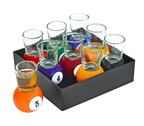Fairly Odd Novelties Billiards Pool Ball Shot Glasses, Set of 9 Fun Sports Bar Drinking Gift Pack, One Size