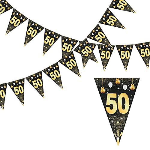 LOPOTIN 8m Banderines cumpleaños Negro Pancarta Cumpleaños Dorada Decoración de Cumpleaños Oro Negro Bandera Fondo para Celebración Aniversario Fiesta de 50 Años 24pcs Pancarta Adorno Pared Jardín.