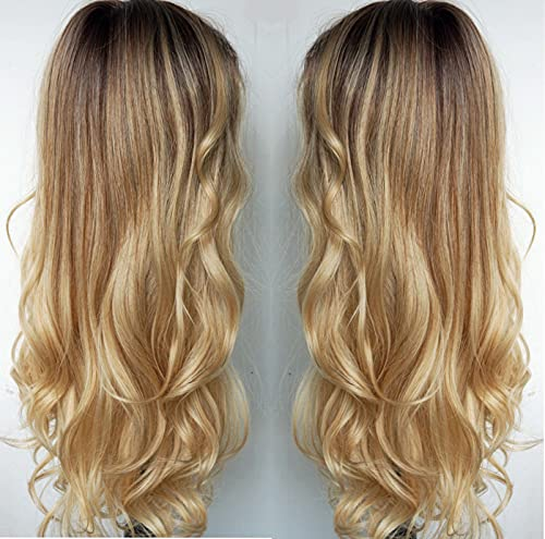 Long Blonde wigs, Ombre wig for women Blonde Brunette Balayage Blonde natural Wave Curl Synthetic Hair Middle Part wigs for Women (4 613 27)