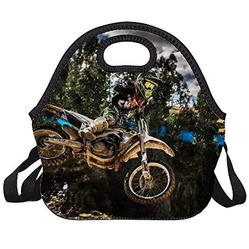 LELEMATE Neoprene Motocross Sport Motorcycle Vehicle Lunch Bag Insulated Lunch Backpack Lunchbox Handbag with Adjustable Shoulder Strap Best Gift for Men Women Teen Boys Girls