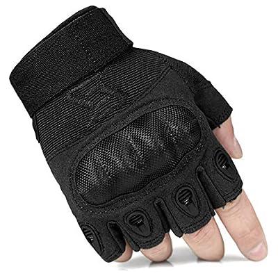 FREE SOLDIER Outdoor Half Finger Safety Heavy Duty Work Gardening Cycling Gloves (Black Fingerless Medium)