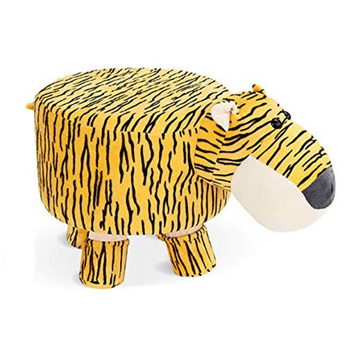 Cartoon-Hocker für Kinder, abnehmbare und waschbare Plüsch-Tierhocker, süße Shorts zum Wechseln von Schuhen, 28 x 26 cm, gelbes Zebra