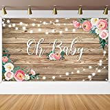 Rustic Wood Baby Shower Backdrop Banner Oh Baby Floral Baby Shower Decorations for Girls and Boys Wood Floor Flower Wall Background Newborn Birthday Party Photo Shoot Booth