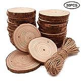 Sinicyder 30 Stücke Holzscheiben 7-8CM, Holz Log Scheiben mit Loch und Frei 10M Natürliche Jute...