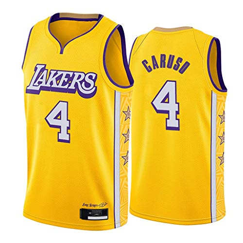 Herren-Basketballtrikot-Alex Caruso-Los Angeles Lakers # 4-Trikot, Basketball-Swingman-Trikot-Sportbekleidung, Yellow City Edition, 100% Polyester-XS