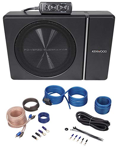 Kenwood KSC-PSW8 8' 250w Slim Under-Seat Powered Car/Truck Subwoofer + Wire Kit