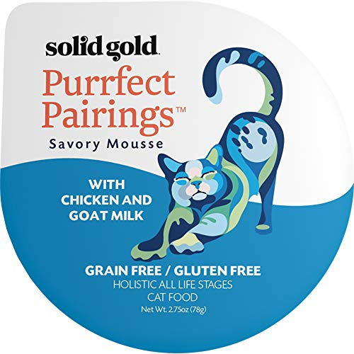 Solid Gold Goat Milk Mousse Pate Wet Cat Food; Purrfect Pairings With Chicken, 18Ct/2.75Oz Cup