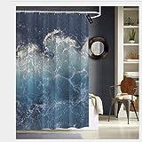 Sotyi-ltd Ocean Waves ibd - Cortinas de Ducha con 12 Ganchos, Tela Resistente al Agua, Cortina de baño de 72 x 72 Pulgadas