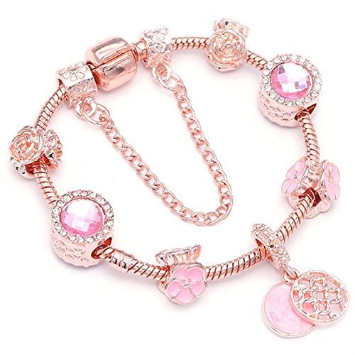 XCQ Pulsera para mujer con colgante de cristal de oro rosa (longitud: 21 cm, color metálico: 26)