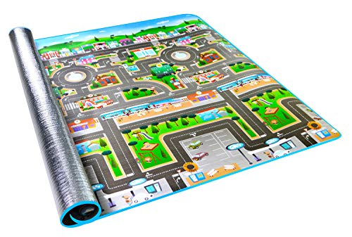 Alfombra infantil de 0,5 cm, imagen de ciudad y tráfico, alfombra en relieve para que jueguen los niños, 200 x 180 cm