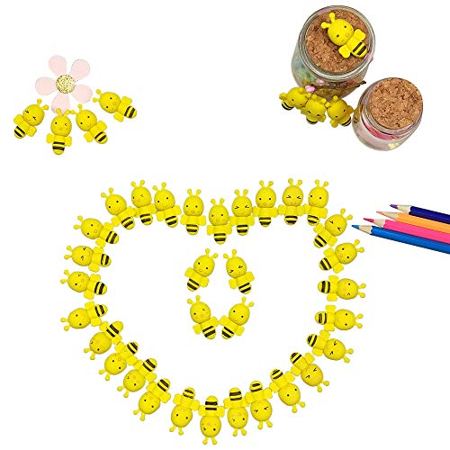 40PCS Cute Funny Mini Honey Bee Shaped Erasers Assortment Animal Pencils Erasers for Kids Homework Gifts, Party Favors, Art Supplies and School Rewards