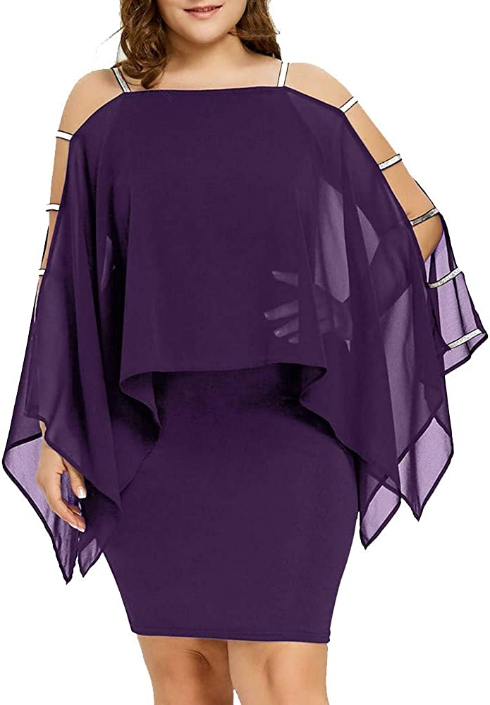 LISTHA Plus Size Chiffon Mini Dress Plus Size Women Casual Ladder Cut Overlay