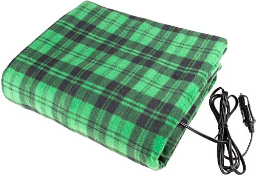 Electric Car Blanket- Heated 12 Volt Fleece Travel Throw for Car and RV-Great for Cold Weather, Tailgating, and Emergency Kits (Green)