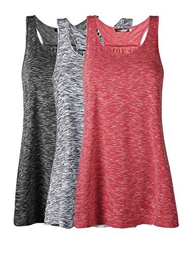 Damen Tank Top Sommer Sports Shirts Oberteile Frauen Baumwolle Lose Ärmellos for Yoga Jogging Laufen Workout,XL,Schwarz/Grau/Rot,3pc