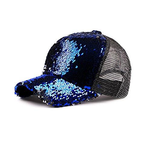 Demarkt Pailletten Baseball Cap Baseball Kappe Mütze Basecap Sport Hüte Sommerhut Sonnenhut Blau