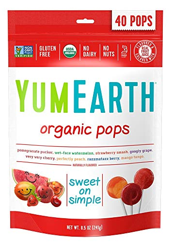 YumEarth Organic Lollipops Assorted Flavors 40 lollipops per Pack 85 Ounce Pack of 1