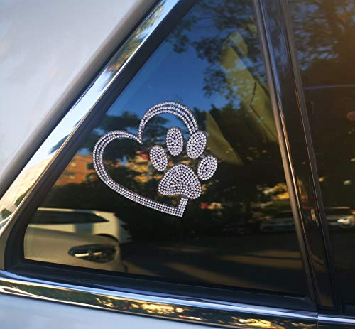 Kuufausi car Bling Stickers and Decals, Cars Walls Laptop Luggage Bling Rhinestone Stickers, Heart with Dog paw(4 X 3.5 Inch)