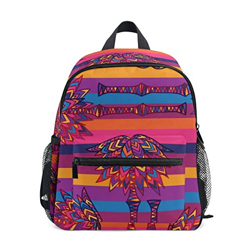 Emoya Colorful Geometric Palm Branches Kids Book Backpack Baby Girls School Bag