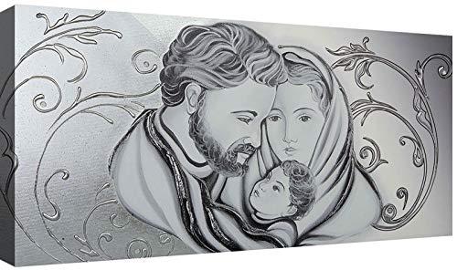 Capezzale Sacra Famiglia 02 Silver cm 100x50 Quadri Moderni Soggiorno Stampa su Tela Camera da Letto