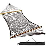 VALLEYRAY 2 Person Double Rope Hammock, Cotton Rope Hammock with Solid Wooden Spreader Bar for Patio, Backyard, Porch. Outdoor Rope Hammock with Extension Chains and S-Hooks(Coffee)