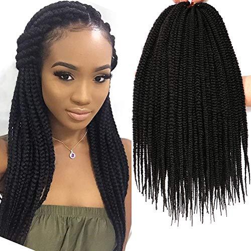 7 Packs 14 Inch Box Braids Crochet Braids Hair Extensions Synthetic Braiding hair 3X Box Braid Crochet Hair (14 Inch, Natural Black)