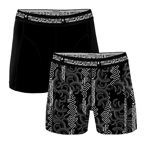 Muchachomalo heren boxershorts 2-pack Print/Zwart Antraciet - Script Maat: S