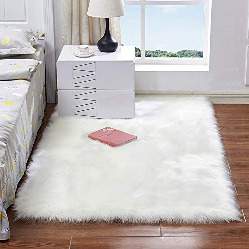 EXQULEG Spitzenqualität Lammfellimitat Teppich, Flauschig Weiche Nachahmung Wolle Teppich Longhair Fell Optik Gemütliches Schaffell Bettvorleger Sofa Matte (Weiß, 80 x 180 cm)